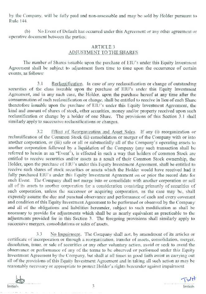 Equity Investment Agreement Template 8 investment agreement