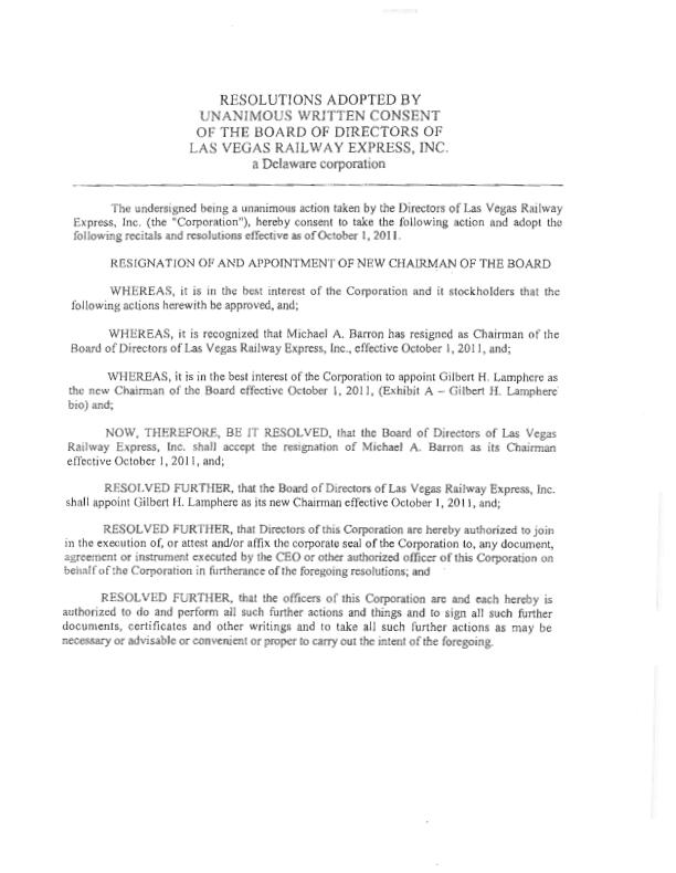 LAS VEGAS RAILWAY EXPRESS, INC - FORM 8-K - EX-107 - CORPORATE - corporate resolution form