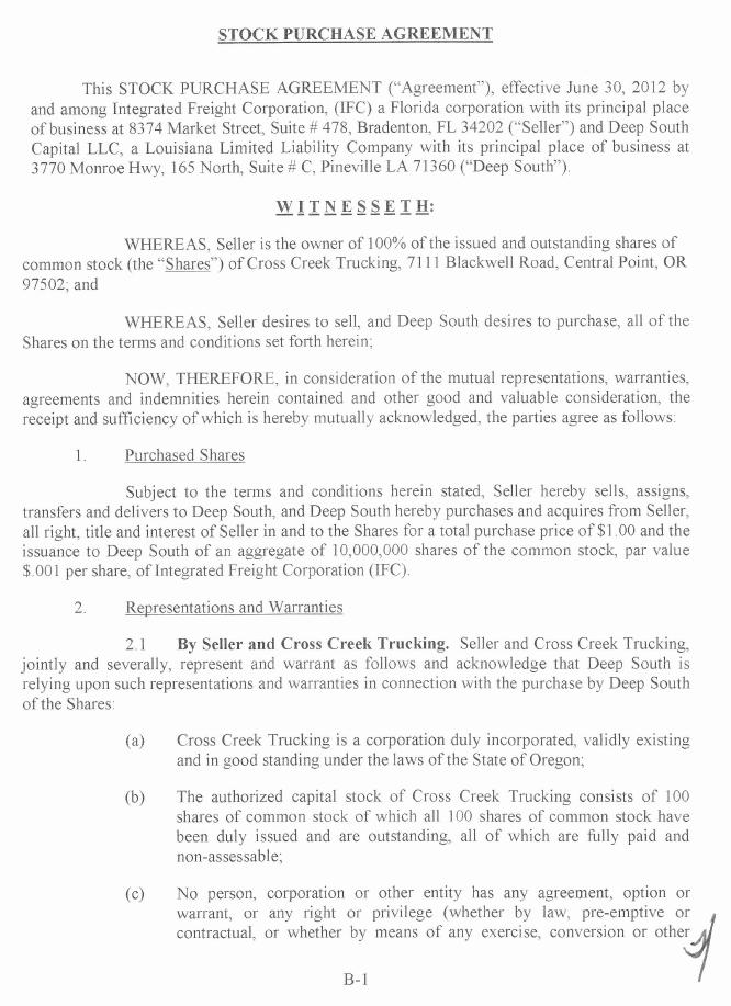 INTEGRATED FREIGHT Corp - FORM 8-K - EX-102 - STOCK PURCHASE - stock purchase agreement
