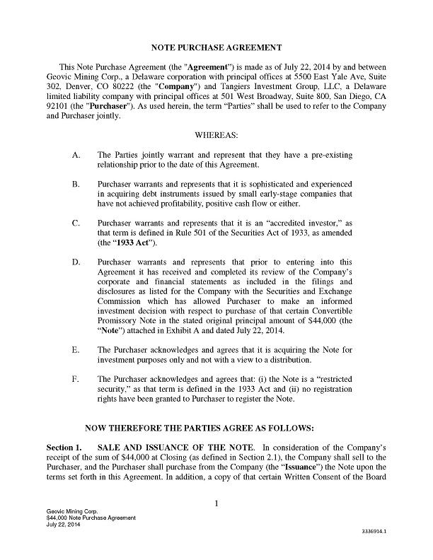 GEOVIC MINING CORP - FORM 8-K - EX-103 - EXHIBIT 103-NOTE - stock purchase agreement