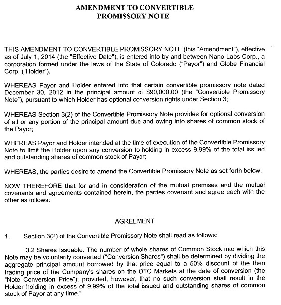 Nano Labs Corp - FORM 8-K - EX-102 - AMENDMENT TO CONVERTIBLE - promissory note parties