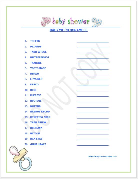 Free Printable Baby Shower Word Scramble - Your Guests Will Love
