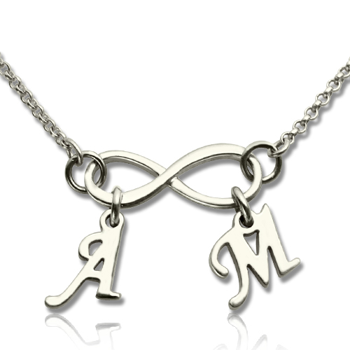 Personalized Sterling Silver Infinity Necklace With