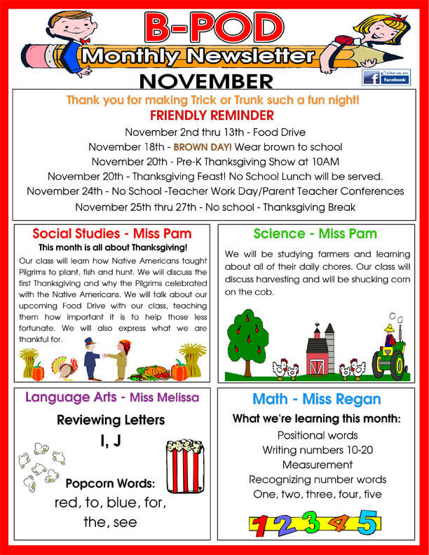 Delray Beach Day Care Facility Monthly Newsletter