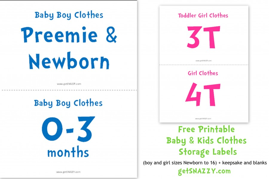 Free Printable} Baby Clothes Storage Labels - getSNAZZY