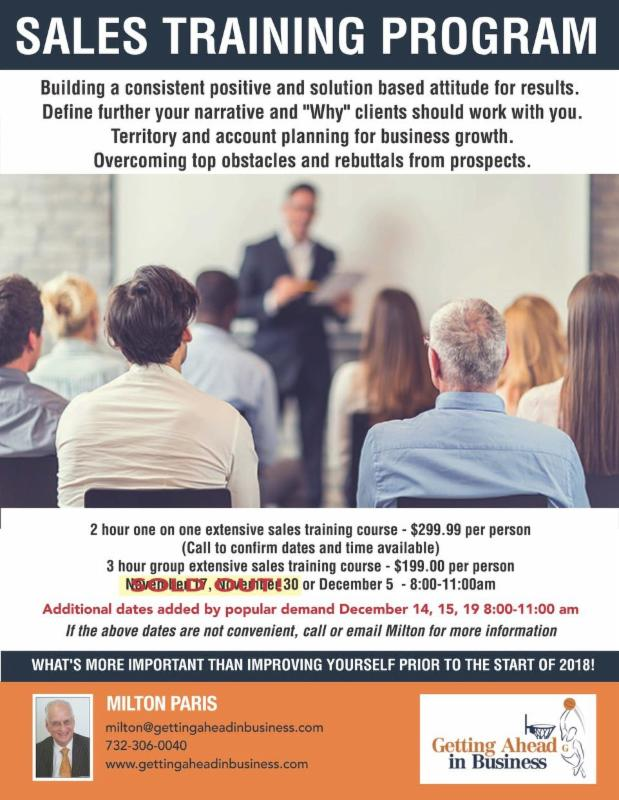 Sales Training Program Getting Ahead in Business - how to develop a sales training plan