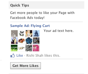 Sample Ad for a Facebook Page to get you to start advertising