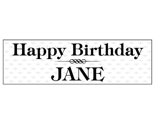 Elegant Black  White Birthday Banner - Holiday  Celebration Flags