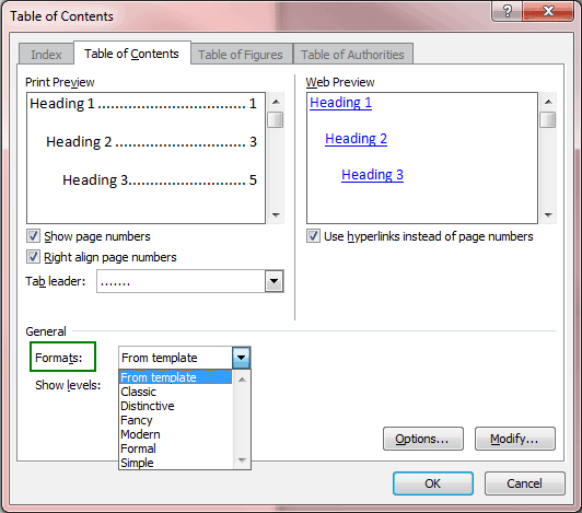 how to get a table of contents in word