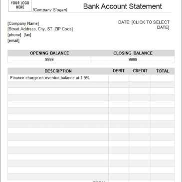 printable statement form sample templates autos post With blank bank statement template download
