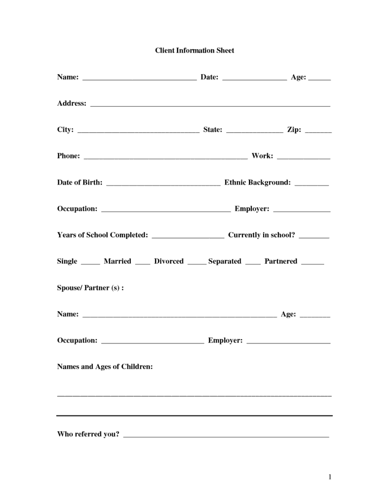Client Profile Rose City Financial Services Basic Personal Information Form Template Pictures To Pin