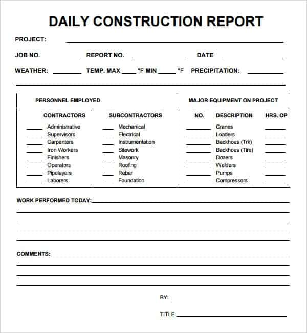 construction site visit report template - 10 daily report templates word excel pdf formats