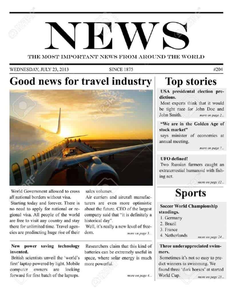 free editable newspaper template