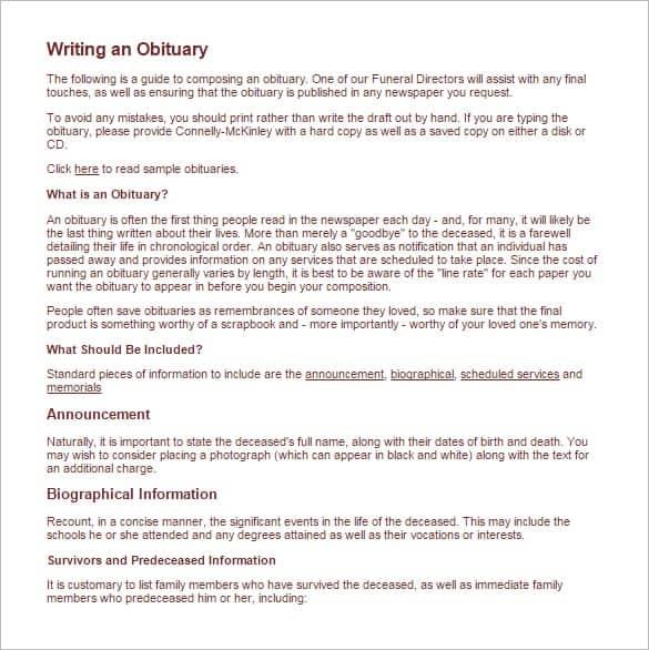 obituary notice sample - Physicminimalistics - sample obituary