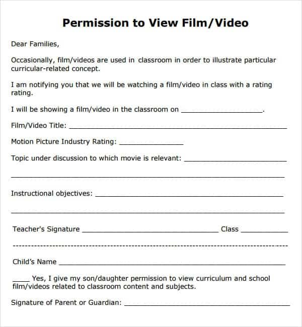 11 permission slip templates word excel pdf formats