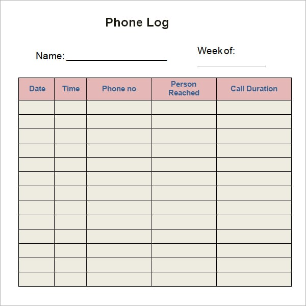 Log Template Word Sample Log Template Documents In Pdf Word Excel - contact log template