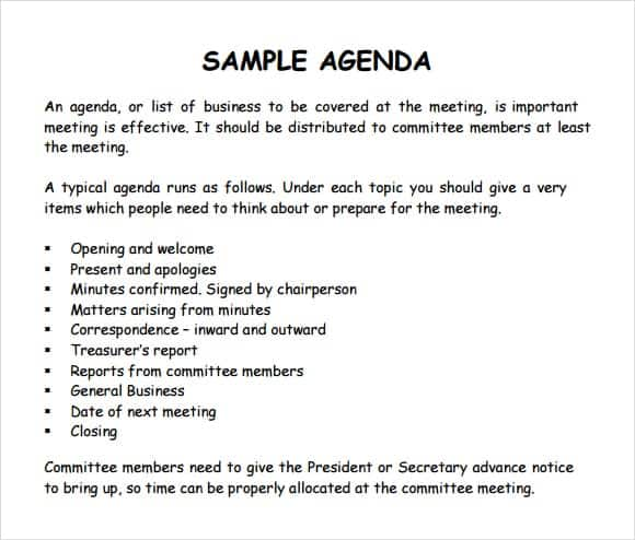 sample of agenda of a meeting