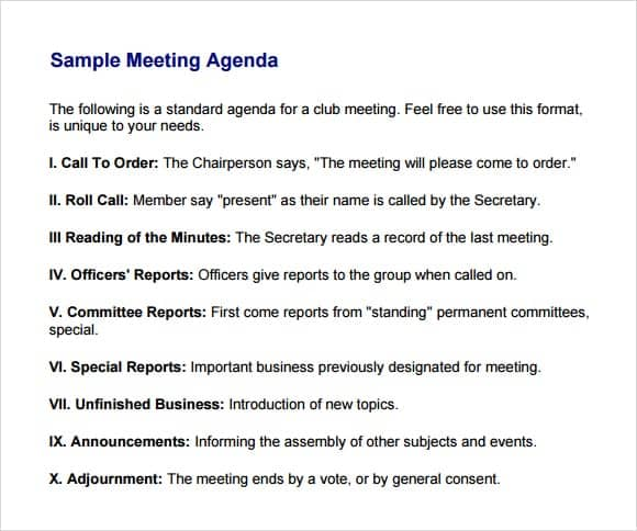 agenda format for meetings - Towerssconstruction