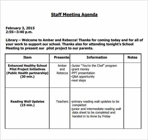 meeting agenda templates - Goalgoodwinmetals - Agendas Templates