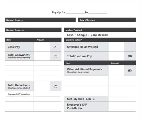 Free employee payslip template