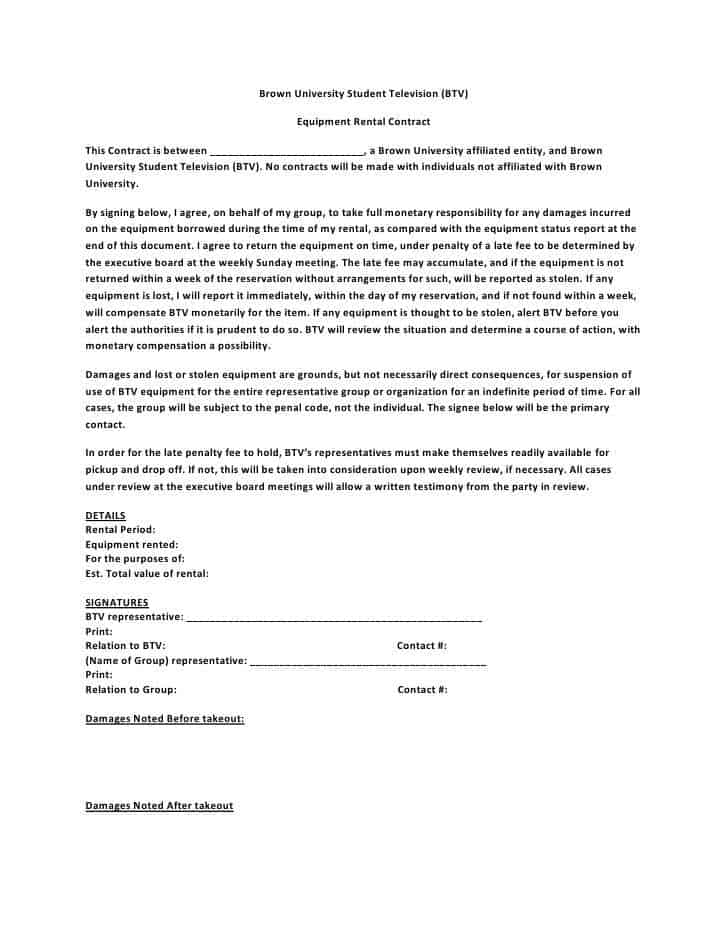 equipment rental agreement template word - Delliberiberi