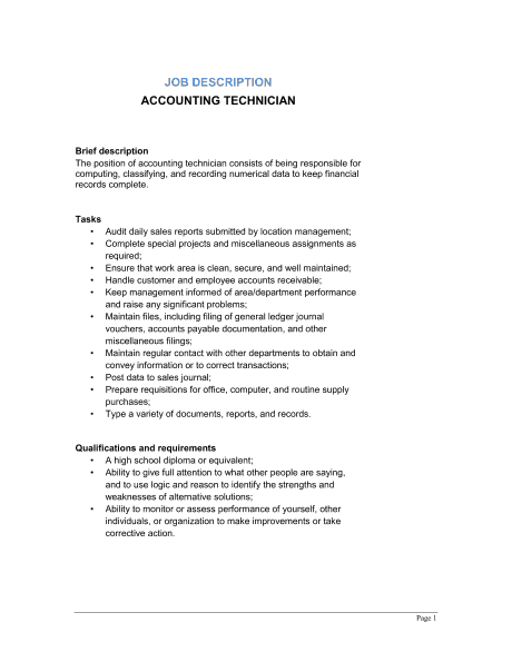 Job Description Example Archives Word Templates   Accounts Payable Job  Description Template