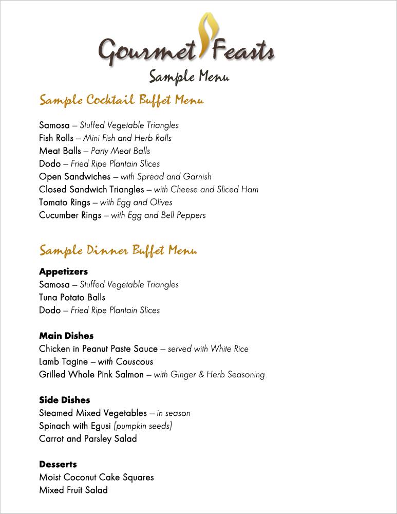 Gourmet Feasts Catering - menu list sample