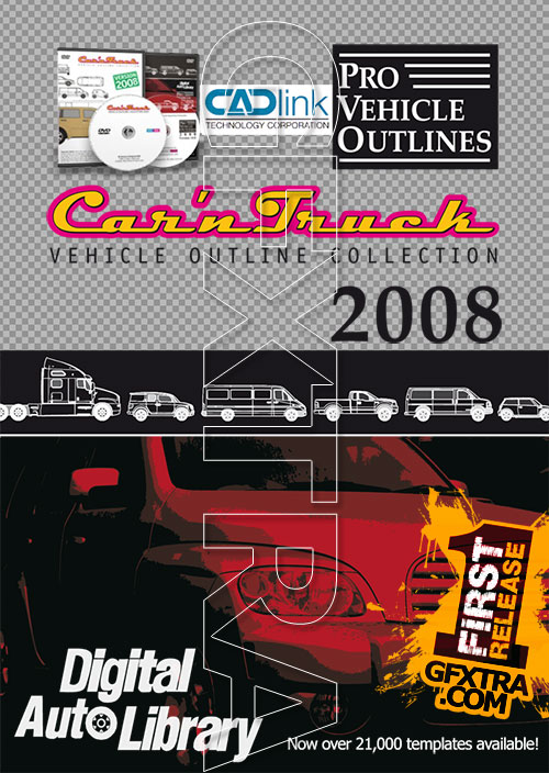 CADlink - Car\u0027n Truck - Pro Vehicle Outlines 2008, 2xDVD » Vector