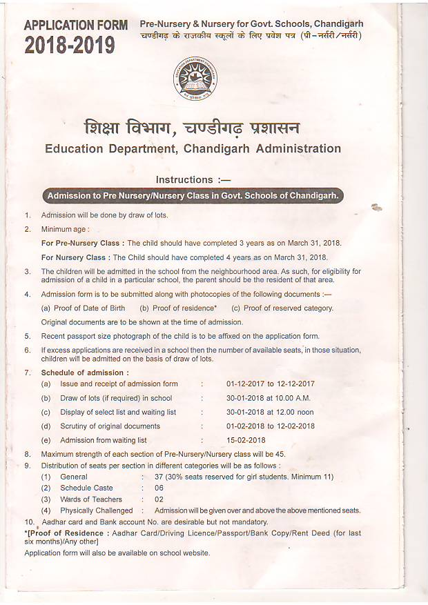 Admission Schedule for Pre-Nursery/Nursery Class Govt Girls Model