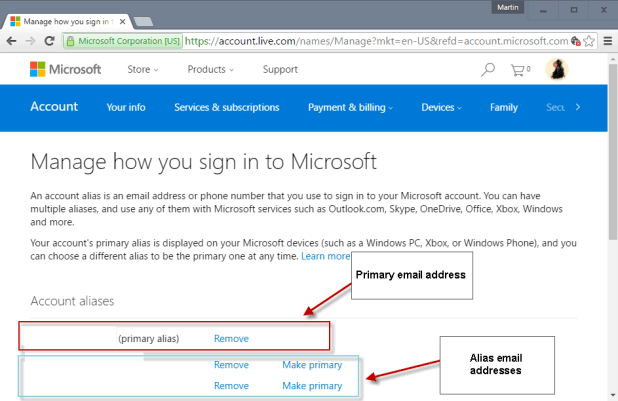 microsoft account primary