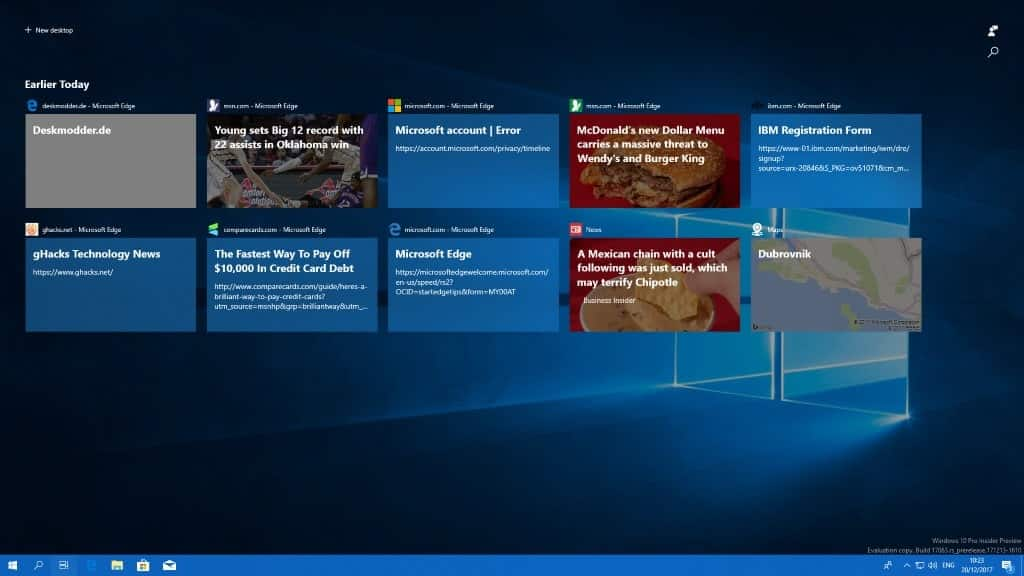 A close look at the Windows 10 Timeline feature - gHacks Tech News - timeline windows