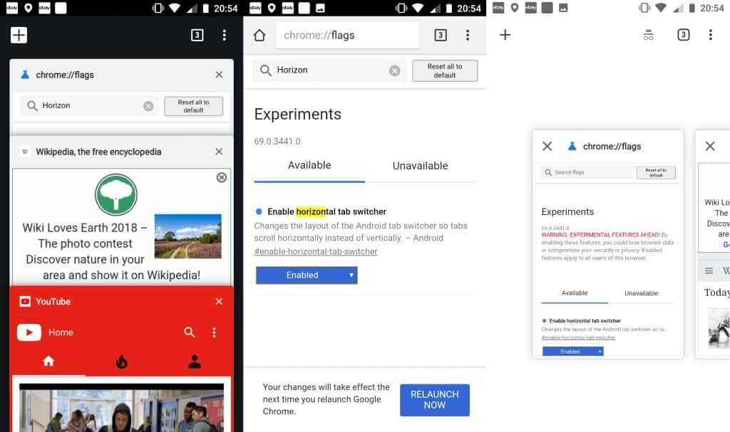 Google tests horizontal tab switcher in Chrome mobile - gHacks Tech News