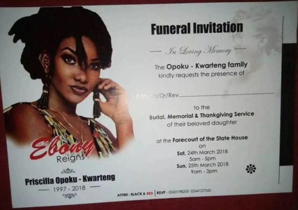 Photos Ebony\u0027s Funeral Invitation Finally Out - Ghafla! Ghana