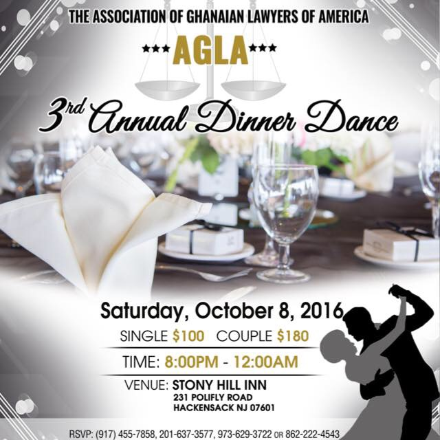 2016 ANNUAL AGLA DINNER Association of Ghanaian Lawyers of America - Dinner Flyer