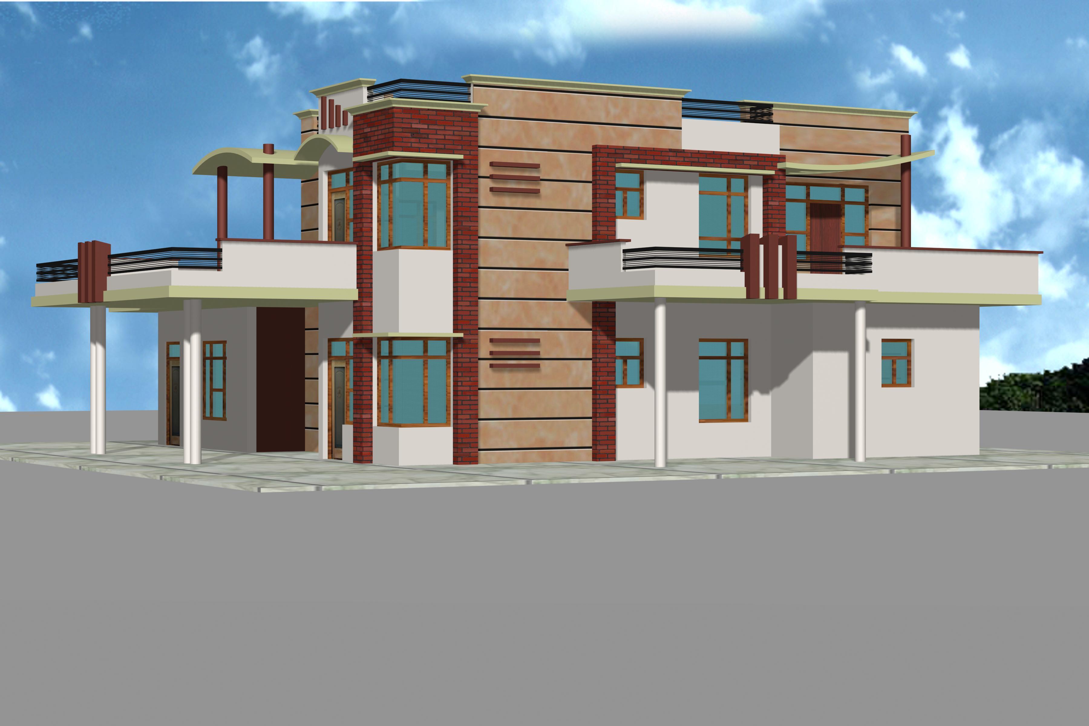 Duplex house pakthin for Duplex house front elevation designs