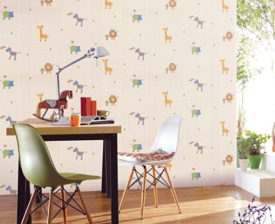 Cute Animal Wallpaper for Kids Study Room - Interior Design Ideas