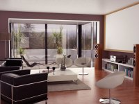 Neutral Living Room with Projector Screen and Glass Wall ...