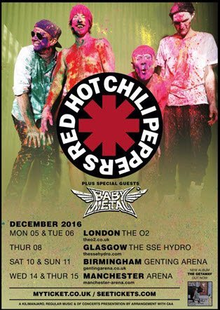 Red Hot Chili Peppers and BABYMETAL tour admat ghostcultmag