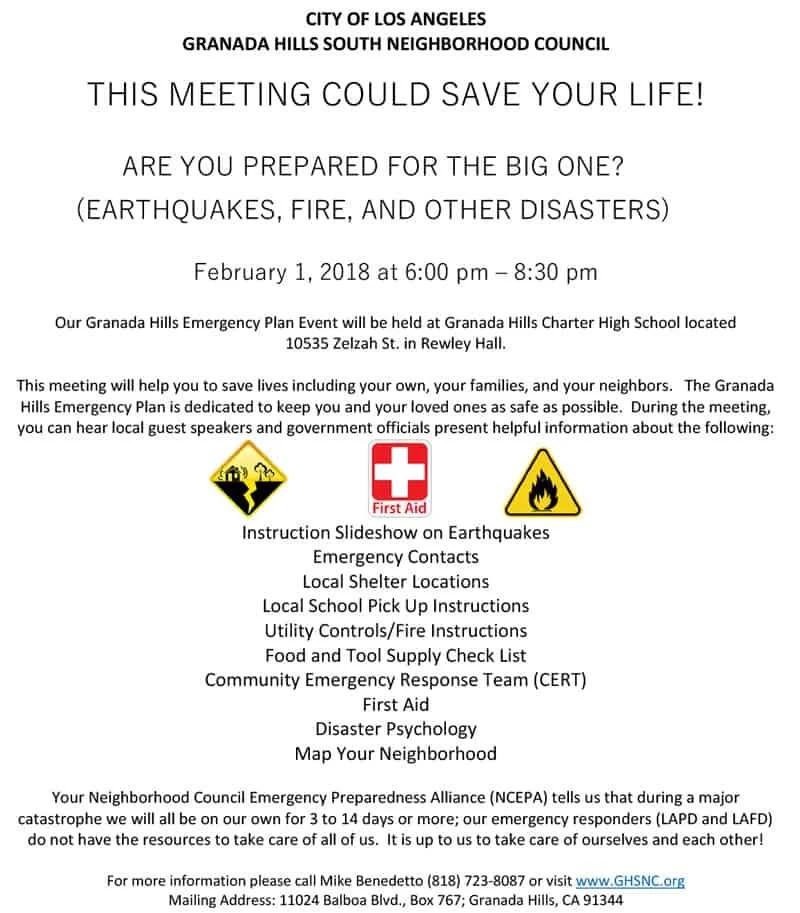Granada Hills Emergency Plan Event - Granada Hills South