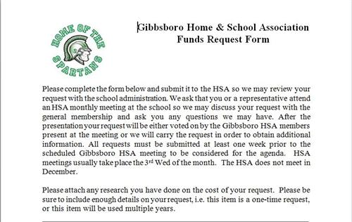 Home and School Association / Staff Request for Funding - funding request form