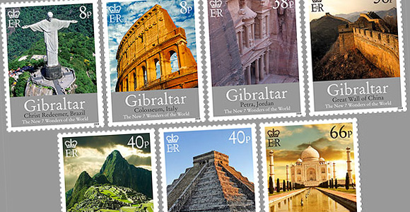 The New 7 Wonders of the World Stamps 2008 Gibraltar