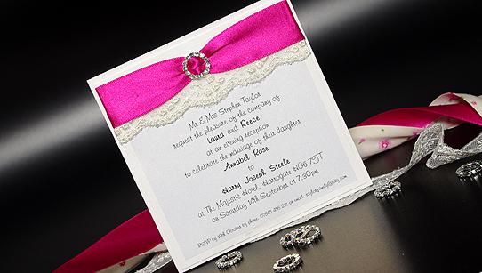 Vintage Lace Evening Handmade Wedding Invitations