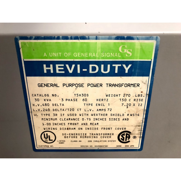 Used Dry Type Transformer 30 KVA 480 Delta 240 Delta 120 CT T5H30S