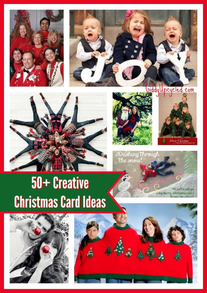 """40 Creative Christmas Card Photo Ideas {Clever Christmas card sayings and caption ideas for your holiday photo cards} 1. Silent Night- A string of Christmas lights around the kids and some tape makes for one """"silent night."""" Sources: {A} Harvard Homemaker. 2."""