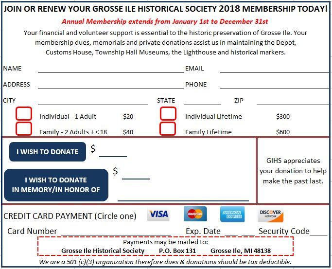Membership Form - grosse ile historical society