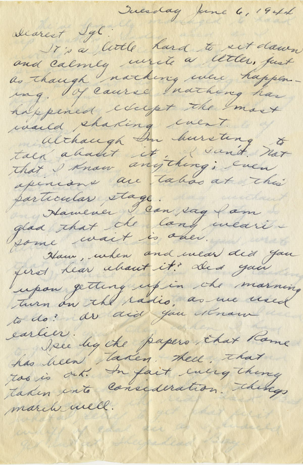 D-Day correspondence between a soldier and his wife, 1944 Gilder