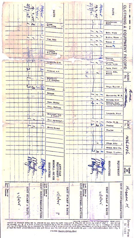 Sample Clothing and Equipment Record (Army Form H1157)  page 2 - army form