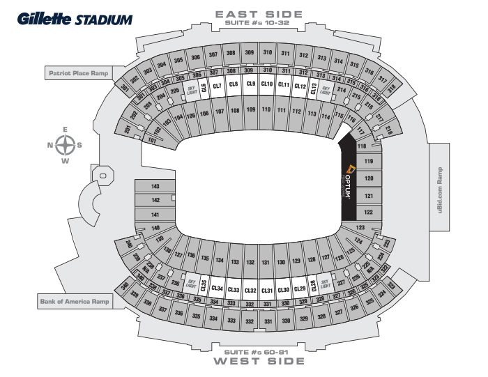 General Seating Chart - Gillette Stadium