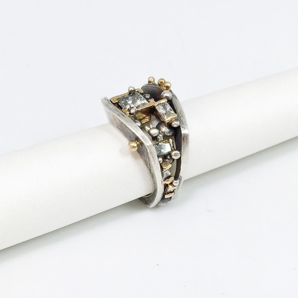 Sterling Silver, 14K gold, heirloom diamonds