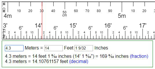 Convert meters to feet  inches or reversion (ft  in \u003d m ?)